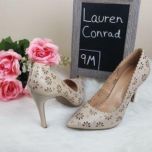 LC Lauren Conrad Nude Eyelet Heels Size 9M
